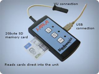 Vehicle unit Digital Data downloader With built in drivers card